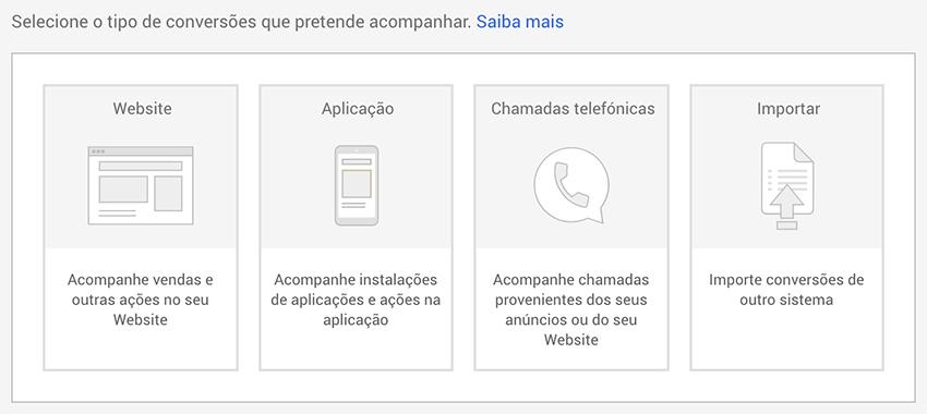 Seleccionar tipo de conversão em Google Ads