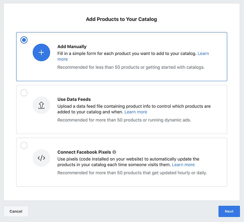 Facebook - Adicionar fonte de dados ao catálogo