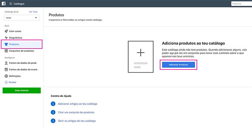 Facebook - Adicionar produtos ao catálogo