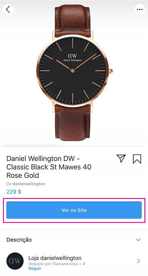 Instagram Shopping - Detalhes do produto