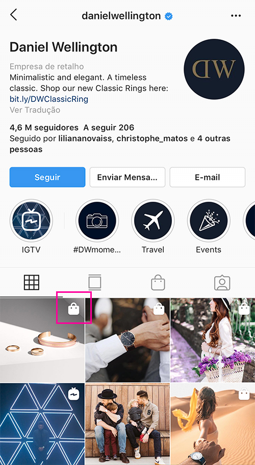Instagram Shopping no Perfil de Instagram