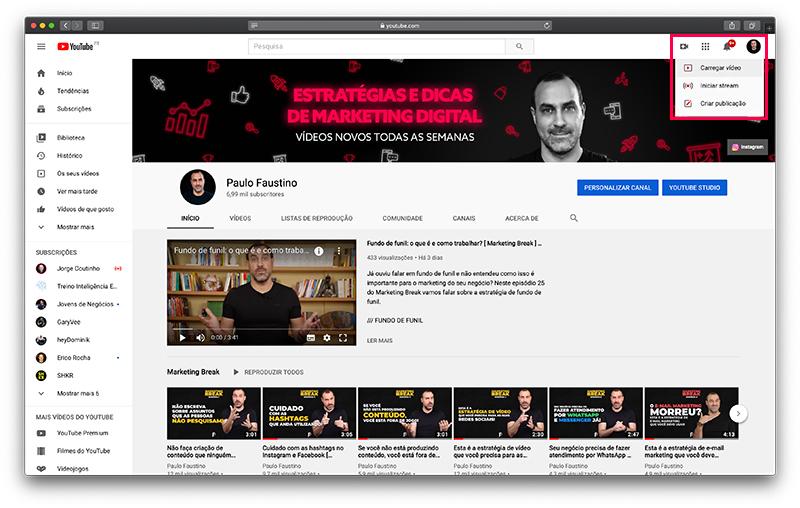 YouTube - Carregar vídeos