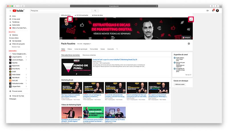 YouTube - Configuração do canal