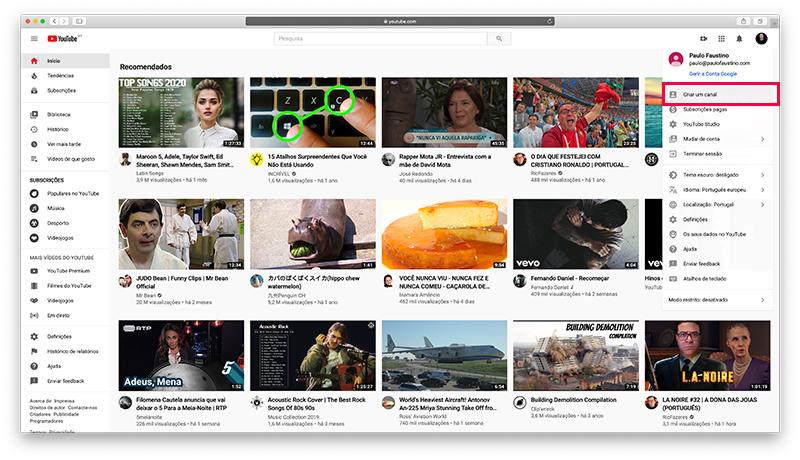 YouTube - Criar um canal