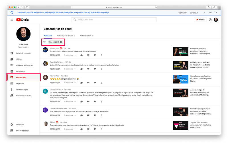 YouTube Studio - Comentários em vídeos no canal