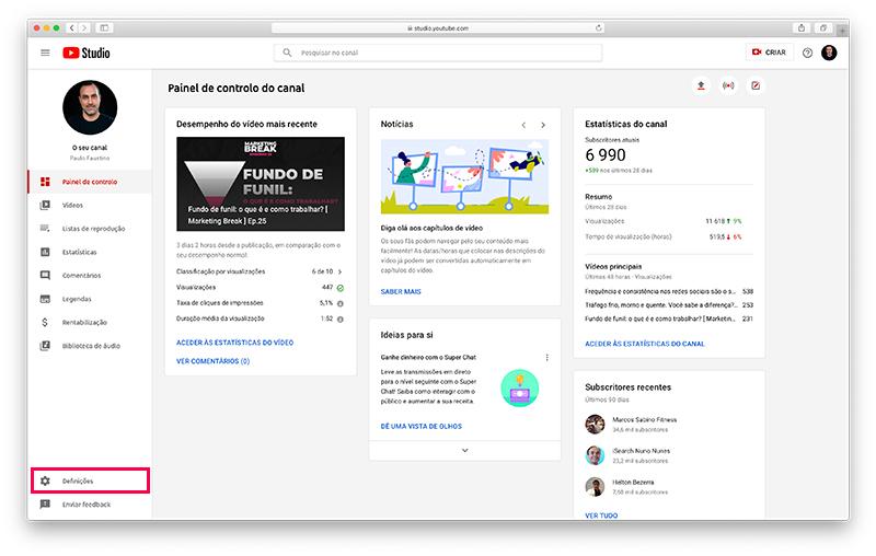 YouTube Studio - Configurações