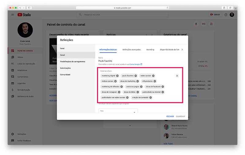 YouTube Studio - Definições da conta