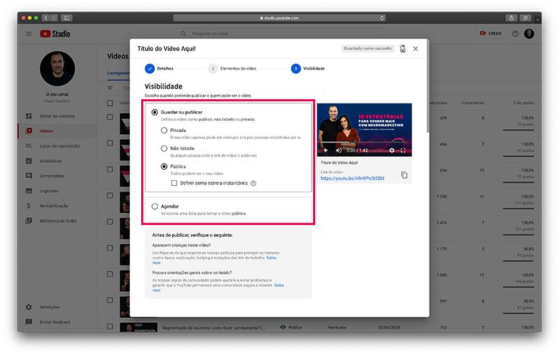 YouTube - Visibilidade e agendamento de vídeos