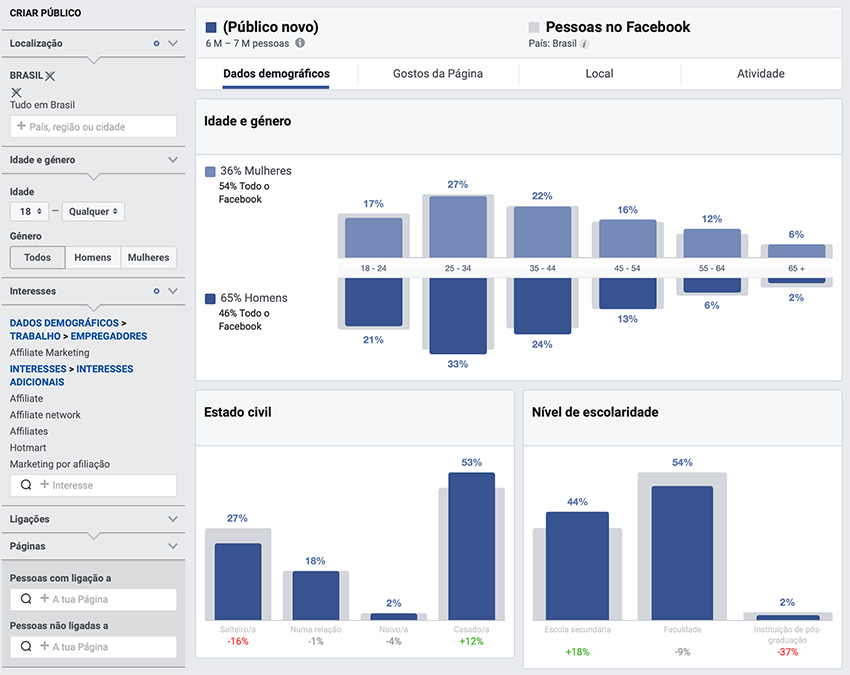 Marketing de afiliados no Facebook Audience Insights