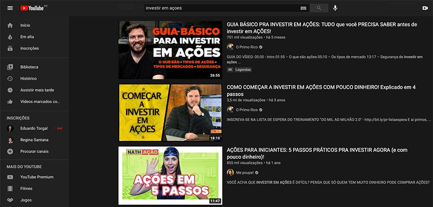 Pesquisa no YouTube com vídeos sobre investimento em ações