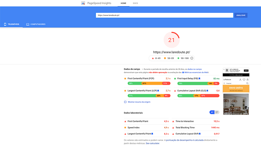 PageSpeed Insights do Google para E-Commerce